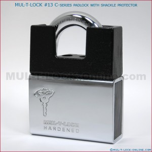 "MUL-T-LOCK Interactive+ High Security #13 C-Series Padlock with Protector (1/2"" Shackle)"