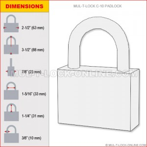 "MUL-T-LOCK High Security #10 C-Series Padlock (3/8"" Shackle)"